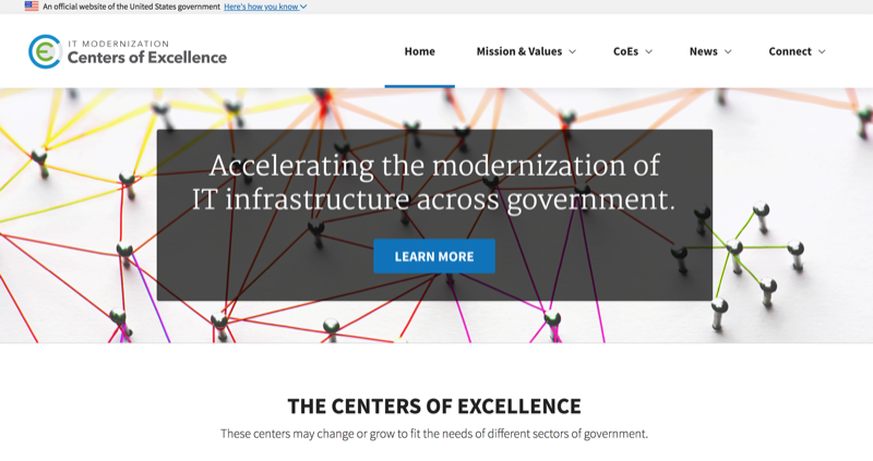 A screenshot of the Centers of Excellence website