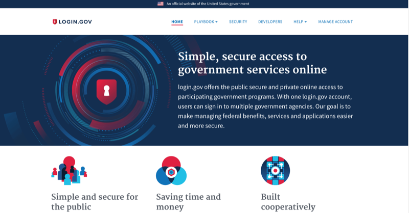 A screenshot of the Login.gov website