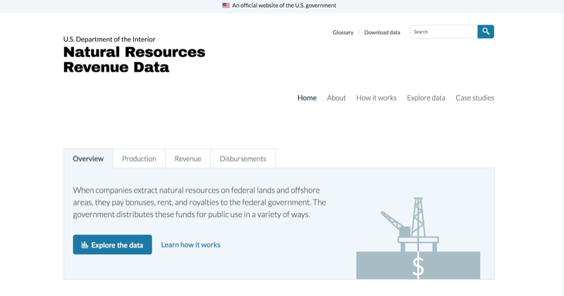 A screenshot of the Department of the Interior Natural Resources Revenue Data website