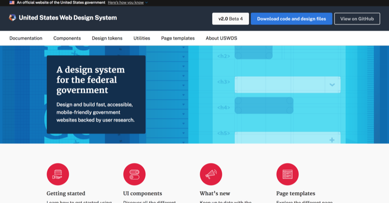 A screenshot of the U.S Web Design System website